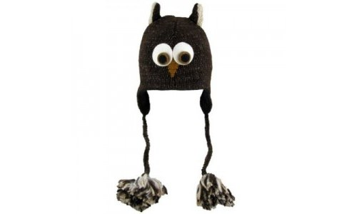 Owl Face Dark Brown Wool Pilot Owl Cap/Hat Beanie