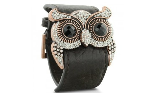 Leather and Crystal Owl Cuff Bracelet Jewelry
