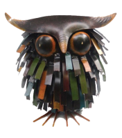 sm-Blue Handworks Spiky Owl Sitter Sculpture