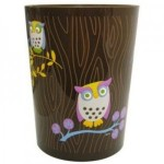 Allure Home Owls Printed Wastebasket Trashcan