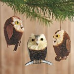 Brushy Owl Ornaments (set of 3)