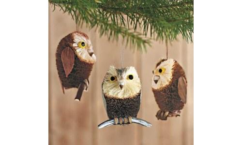 Brushy Owl Ornaments (set of 3)