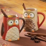 Cute Tag Owl Ceramic Mugs (set of 4)
