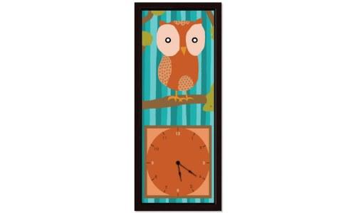 Decorative Orange Owl Clock
