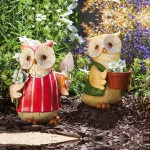 Fun Cheerful Gardener Owl Garden Statues (Set of 2)