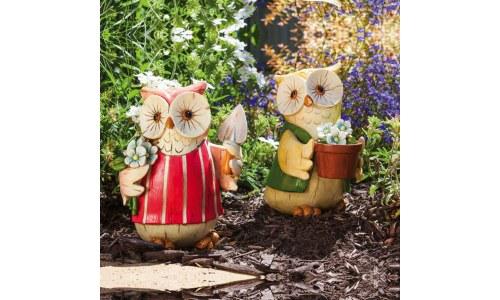 Fun Cheerful Gardener Owl Garden Statues (Set of 2)