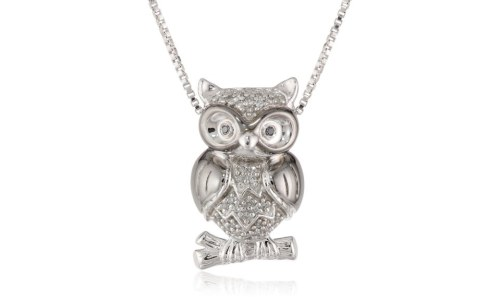 Sterling Silver Diamond Owl Pendant Necklace