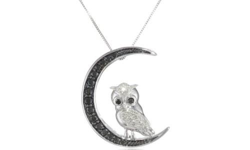 10k White Gold Black and White Diamond Owl Pendant Necklace