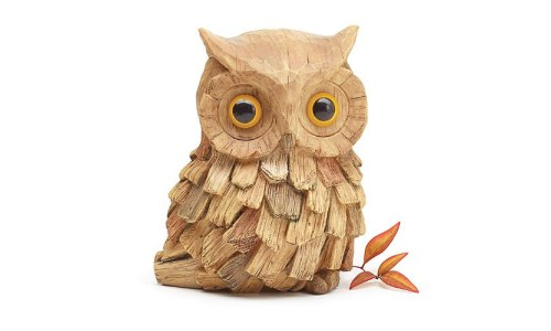 Brown Owl Figurine Hand Painted Driftwood Style