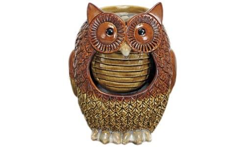 Hand Glazed Porcelain Owl Fountain