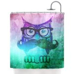 Kess Inhouse iRuz33 Owl Mustache Shower Curtain