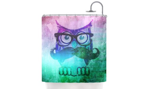 Kess Inhouse iRuz33 Owl Mustache Shower Curtain
