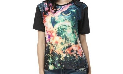 Pandolah Womens Galaxy Owl Shirt