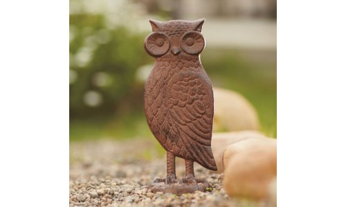 Rustic Brown Cast-Iron Barn Owl Statue