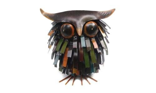 Spiky Owl Sitter Owl Sculpture