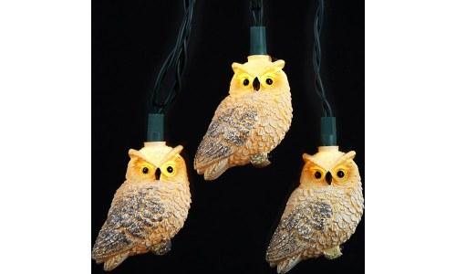 White Glittered Novelty Owl Light Set (10 lights)