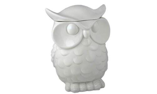 White Porcelain Owl Cookie Storage Jar