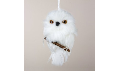 White Snowy Owl Ornament Perched on Branch