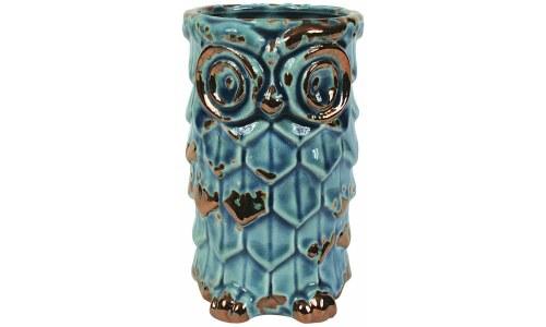 Distressed Look Ceramic Owl Vase
