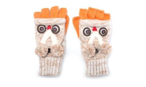 Fingerless Owl Mitten Style Fashion Gloves