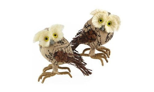 Adorable Burlap Owl Figurines (Set of 2)