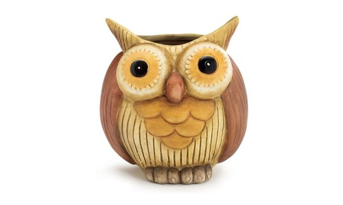 Whimsical Hootie Owl Planter / Vase Porcelain