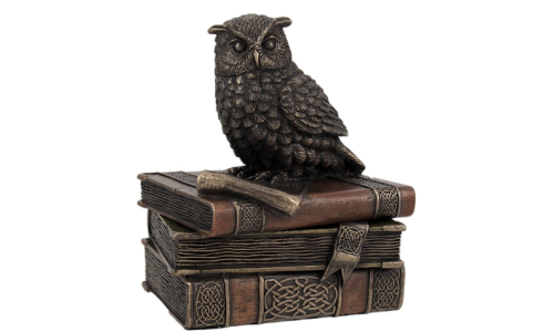 Bronze Finish Wise Owl Trinket Box Jewelry Box