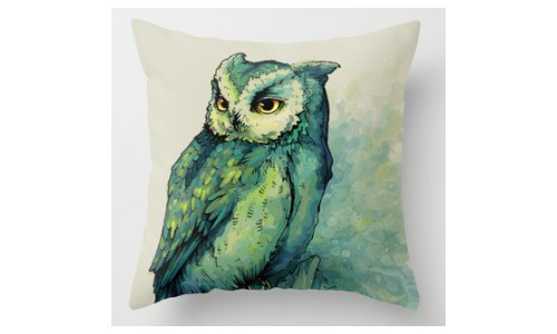 Double Sided Green Owl Pillow / Owl Throw Pillow Case
