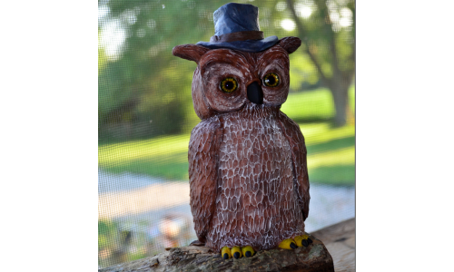 Handmade Owl in Top Hat Sculpture