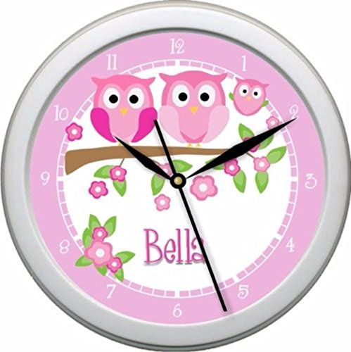 Personalized Pink Owl Family Wall Clock Nursery Decor Shower Gift